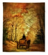 Coach On A Road In Autumn Fleece Blanket