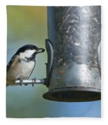 Coal Tit On Feeder Fleece Blanket