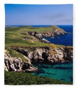 Coastal Cliffs And Seascape With Boat Fleece Blanket