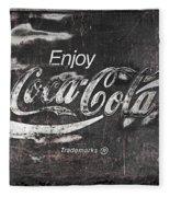 Coca Cola Pink Grunge Sign Fleece Blanket