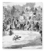 Cock Fighting, 1866 Fleece Blanket