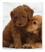 Cocker Spaniel Puppy And Goldendoodle Fleece Blanket