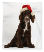 Cocker Spaniel With Santa Hat Fleece Blanket