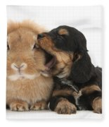 Cockerpoo Pup And Lionhead-lop Rabbit Fleece Blanket