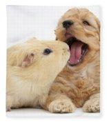 Cockerpoo Puppy And Guinea Pig Fleece Blanket
