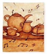 Coffee Break 2 Coffee Painting Fleece Blanket