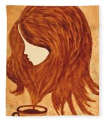 Coffee Break Coffee Painting Fleece Blanket