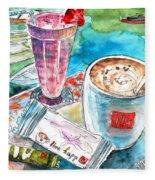 Coffee Break In Agios Nikolaos In Crete Fleece Blanket
