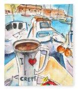 Coffee Break In Heraklion In Crete Fleece Blanket
