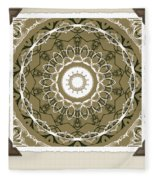 Coffee Flowers 1 Olive Medallion Scrapbook Fleece Blanket