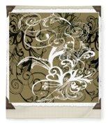 Coffee Flowers 1 Olive Scrapbook Fleece Blanket