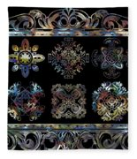 Coffee Flowers Ornate Medallions 6 Piece Collage Aurora Borealis Fleece Blanket