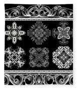 Coffee Flowers Ornate Medallions Bw 6 Piece Collage Framed  Fleece Blanket