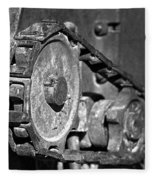 Cog And Chain In Rust Black And White Fleece Blanket