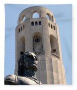 Coit Tower Statue Columbus Fleece Blanket