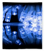 Cold Blue Led Lights Closeup Fleece Blanket