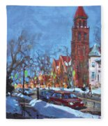 Cold Morning In Elmwood Ave  Fleece Blanket