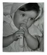 Colette 1 Year Old With 3 Eye Opend Fleece Blanket
