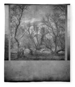 Collage Misty Trees Fleece Blanket