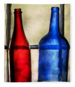 Collector - Bottles - Two Empty Wine Bottles  Fleece Blanket