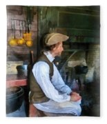 Colonial Man In Kitchen Fleece Blanket