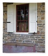 Colonial Shutters Window Frame Stone Wall Wood Box Fleece Blanket