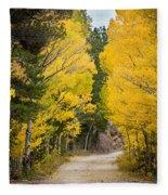 Colorado Rocky Mountain Aspen Road Portrait  Fleece Blanket