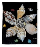 Colored Seashells Fleece Blanket