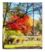 Colorful Autumn Street Fleece Blanket