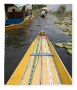 Colorful Boats On Dal Lake Dal Lake Fleece Blanket