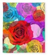 Colorful Floral Design  Fleece Blanket