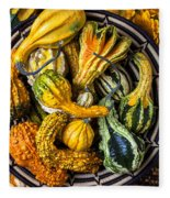 Colorful Gourds In Basket Fleece Blanket