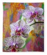 Colorful Orchids Fleece Blanket