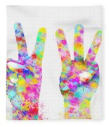 Colorful Painting Of Hands Number 0-5 Fleece Blanket