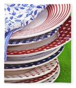 Colorful Plates Fleece Blanket