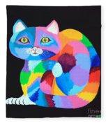 Colorful Rainbow Cat Fleece Blanket