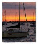 Colorful Skies At This Harbor Fleece Blanket