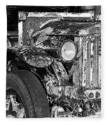 Colorful Vintage Car In Black And White Fleece Blanket