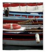 Colorful Wooden Boats Fleece Blanket