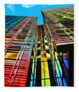 Colors In The City With Clouds Fleece Blanket