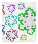 Coloured Snowflakes Isolated Fleece Blanket