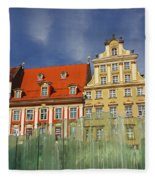 Colourful Buildings And Fountain Fleece Blanket