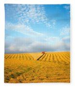Combine Harvesting A Wheat Field Fleece Blanket