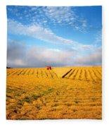 Combine Harvesting, Wheat, Ireland Fleece Blanket