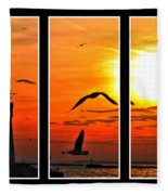 Coming Home Sunset Triptych Series Fleece Blanket