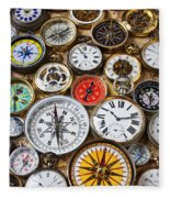 Compases And Pocket Watches  Fleece Blanket