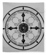 Compass In Black And White Fleece Blanket