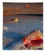 Conch Shell On Beach Fleece Blanket