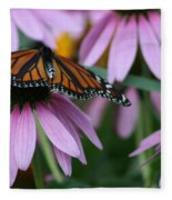 Cone Flowers And Monarch Butterfly Fleece Blanket