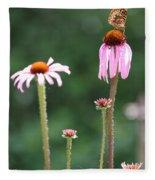 Coneflowers And Butterfly Fleece Blanket